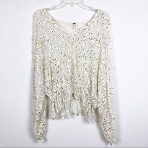 Free People Sequin Babydoll Blouse